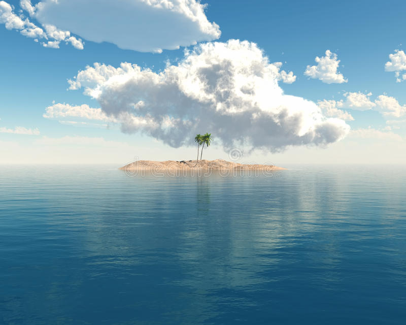 Tropical island in clear blue sea stock illustration