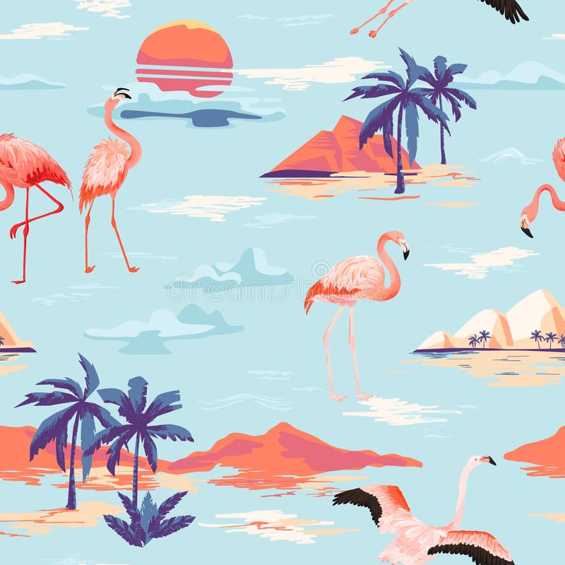Tropical Island and Flamingo seamless vector summer pattern with tropic palm trees. Vintage background for wallpapers. Web page, texture, textile royalty free illustration