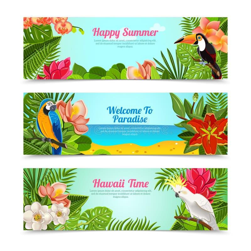 Tropical Island Flowers Horizontal Banners Set Stock