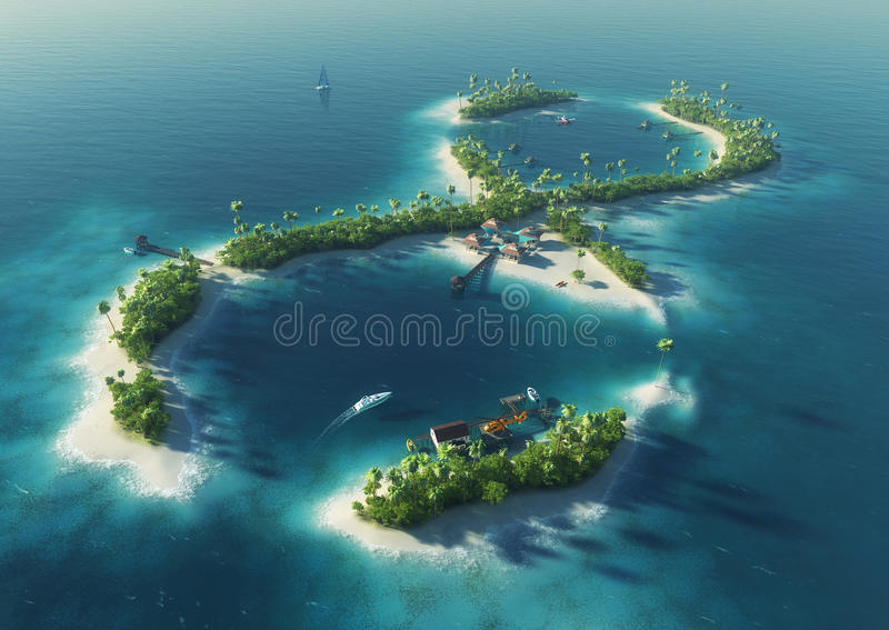 Tropical island in the form of infinity sign stock illustration