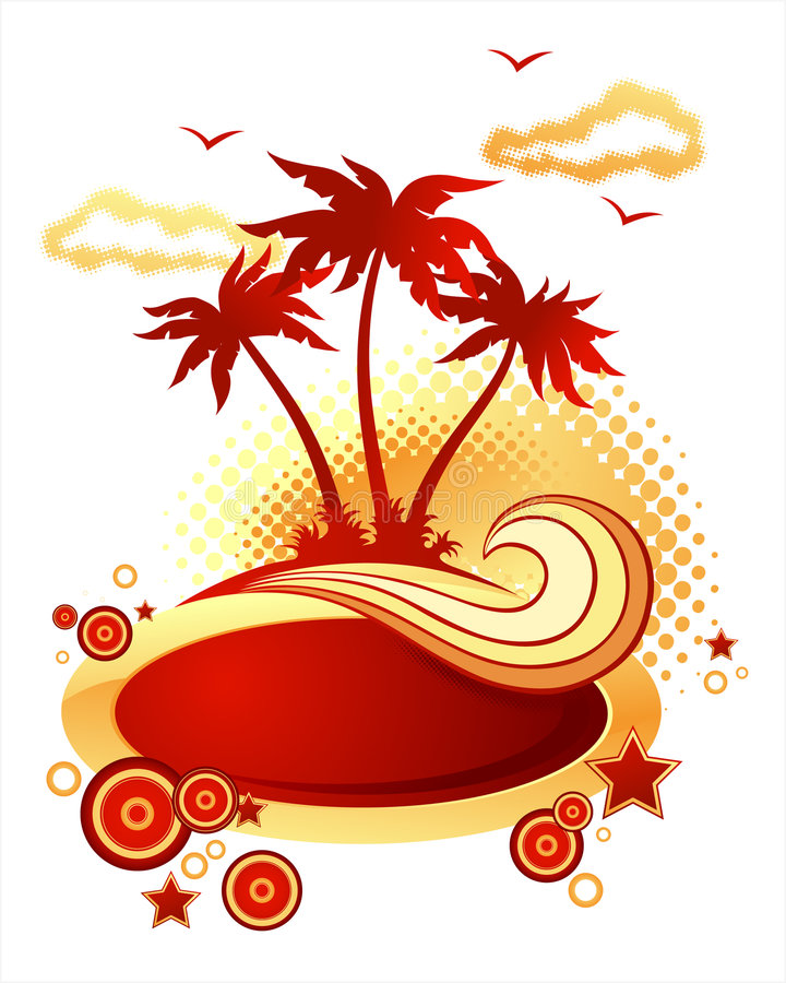 Tropical island illustration. Tropical island graphic illustration with coconut palm trees, birds, waves, clouds, stars and circles. Red and orange colour tones vector illustration