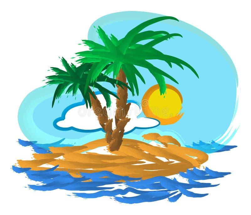 Tropical island illustration royalty free stock photography