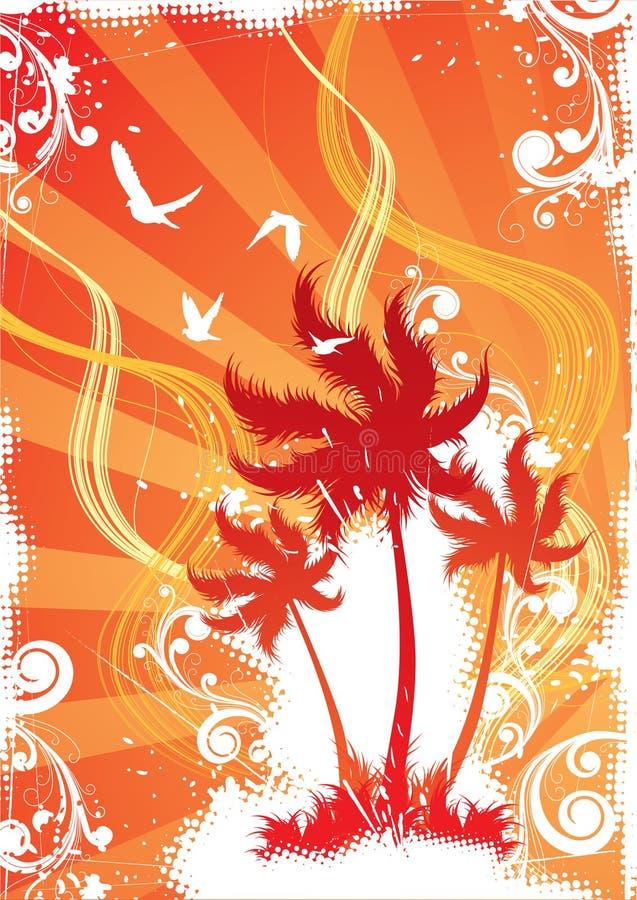 Tropical island illustration royalty free illustration