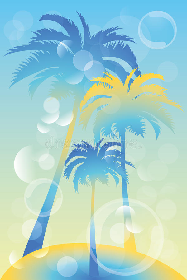 Tropical island illustration. Tropical island - illustration with palm trees and bubbles royalty free illustration