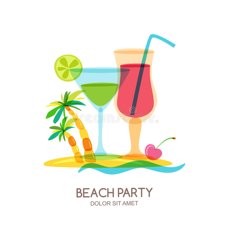 Tropical island landscape with cocktail glass and palm tree. Vector doodle isolated illustration. Trendy flat design for summer beach party, bar menu of royalty free illustration