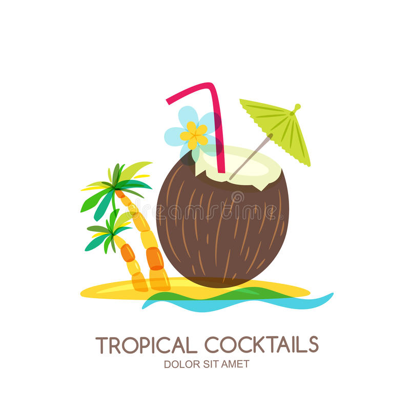 Tropical island landscape with coconut cocktail and palm tree. Vector doodle isolated illustration. Trendy flat design for summer beach party, bar menu of royalty free illustration