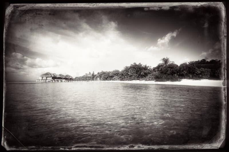 Tropical island landscape retro stylized stock photo