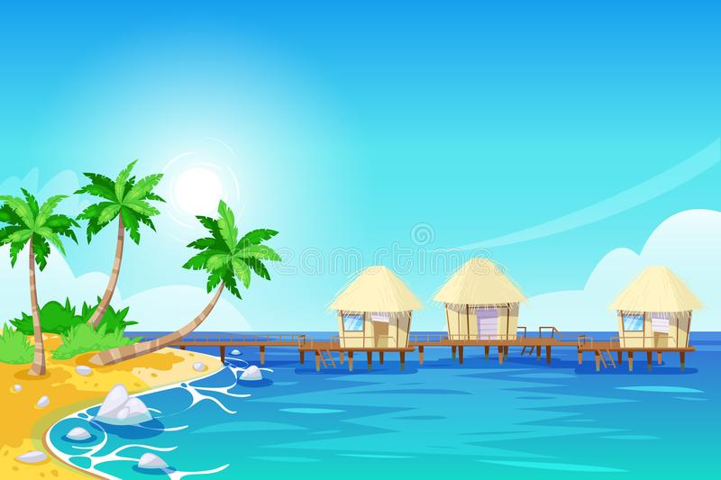 Tropical island landscape, vector illustration. Palms and bungalows in the ocean. Summer travel cartoon background. stock illustration