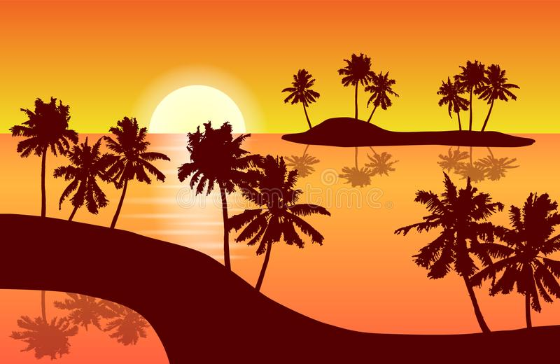Tropical island landscape vector with palm trees in orange sunset reflected in a lagune. stock illustration