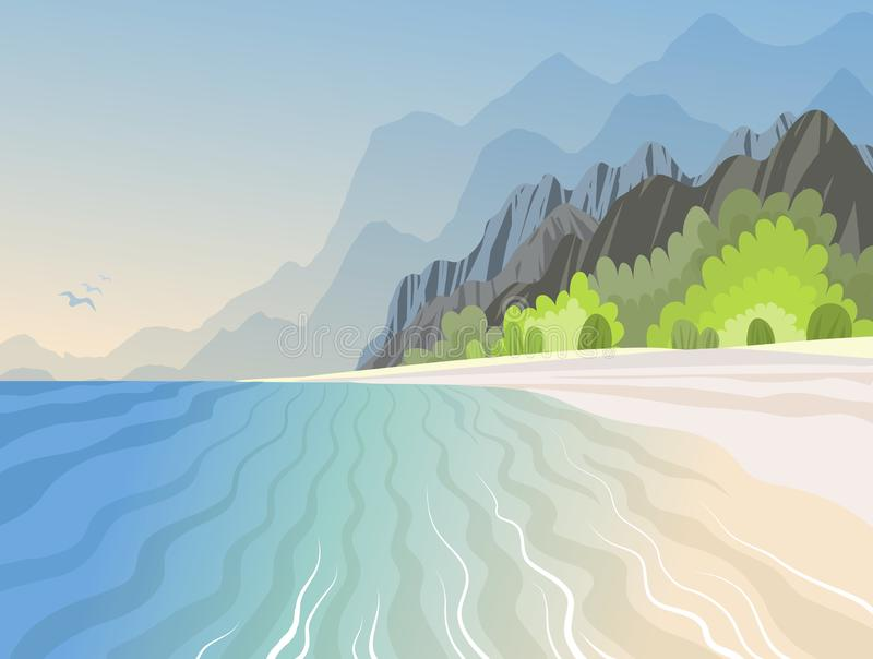 Tropical island in the ocean with with high mountains and azure beach. Vector illustration royalty free illustration