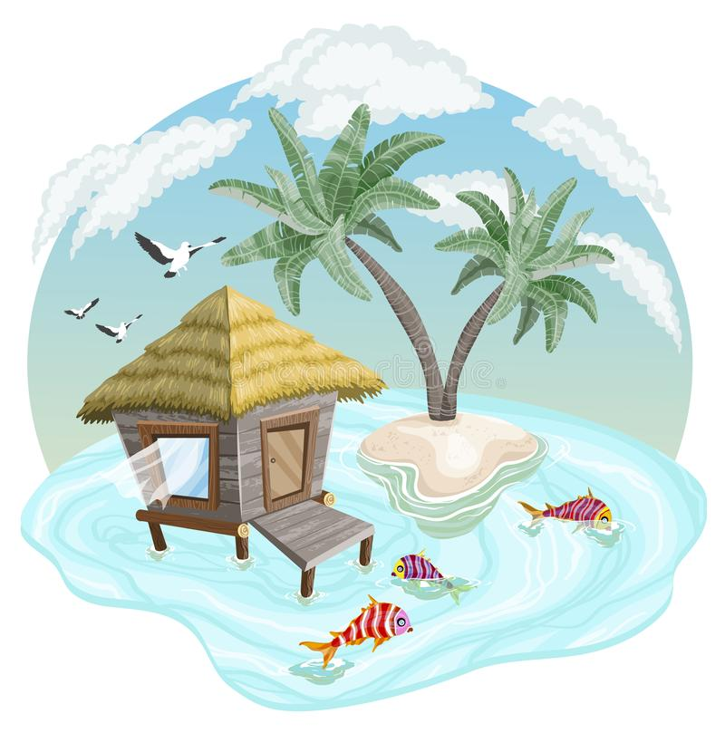 Tropical island in the ocean with palm trees and bungalow royalty free illustration