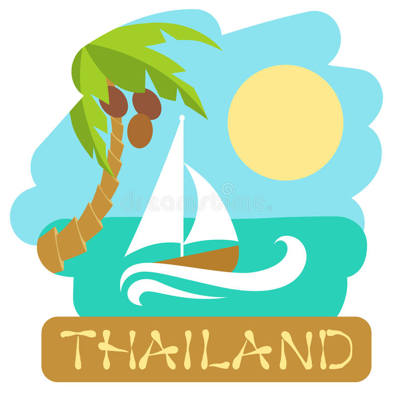 Tropical Island With Palm Tree And Boat Vector Illustration Icon