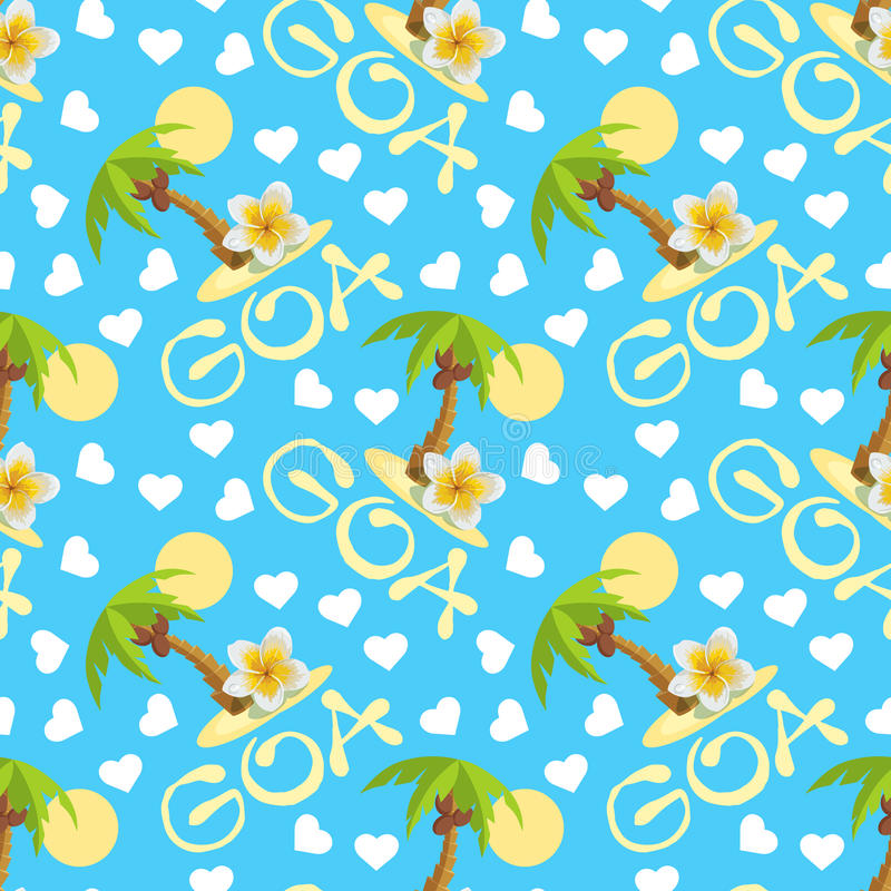 Tropical island with palm tree, flower plumeria and hearts. Vector illustration seamless background for traveling. Tropical island with palm tree and plumeria royalty free illustration