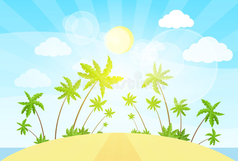 Tropical island with palm tree ocean summer vector illustration