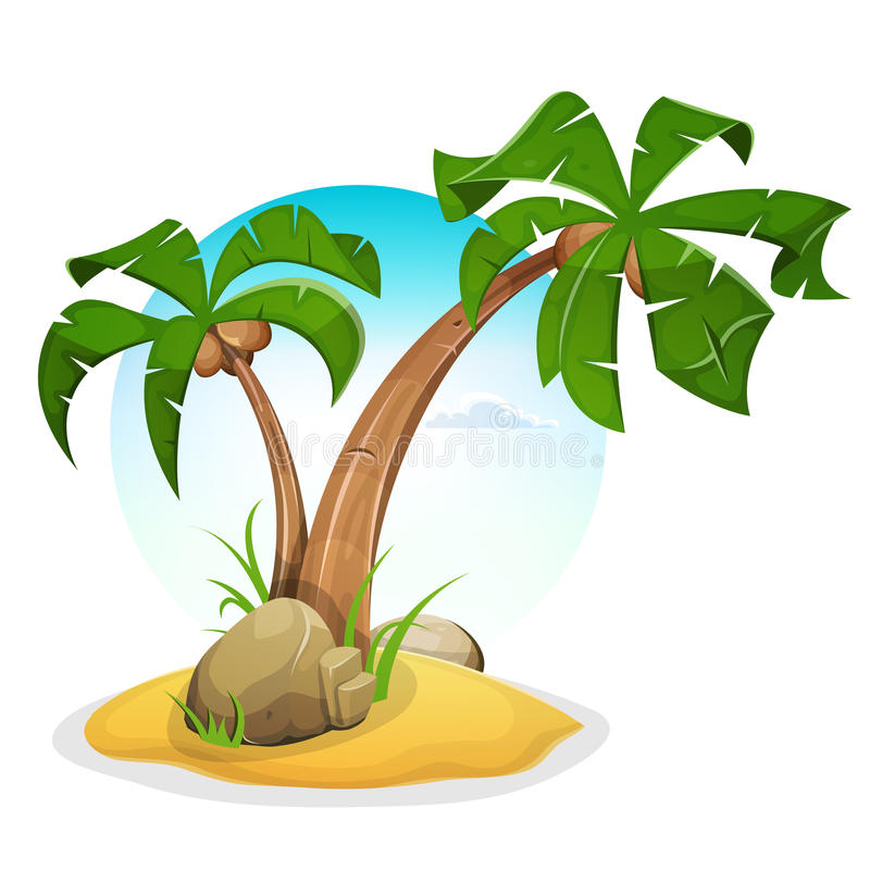 Tropical Island With Palm Trees stock illustration