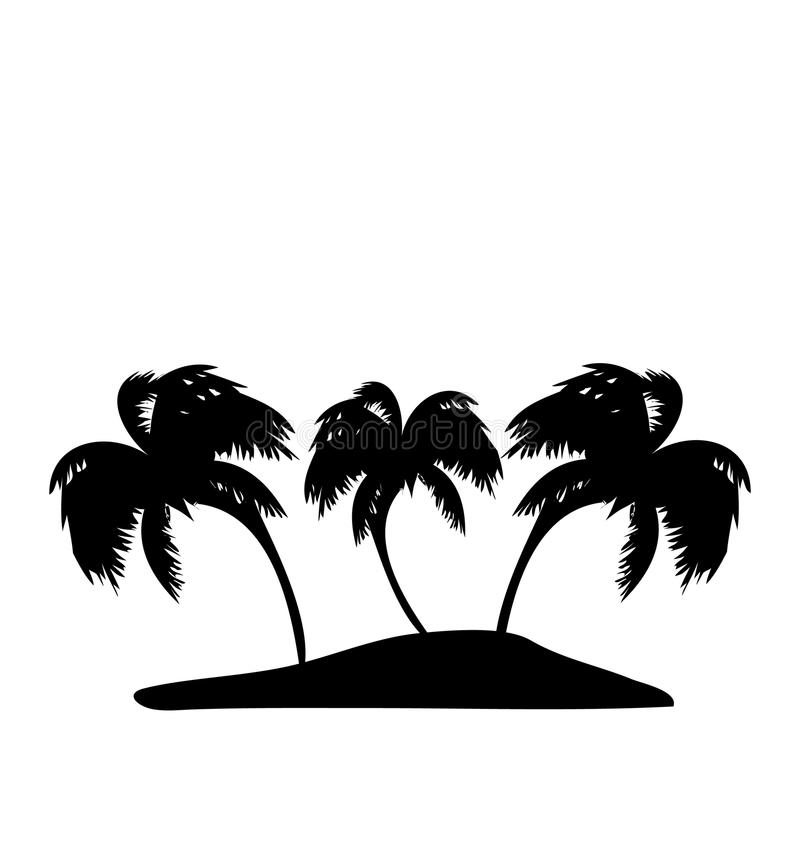 Tropical Island With Palm Trees Silhouette Stock Vector