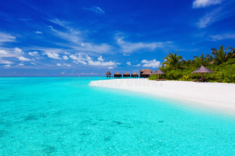 Download Tropical Island With Palm Trees And Villas Stock Image - Image: 24337309