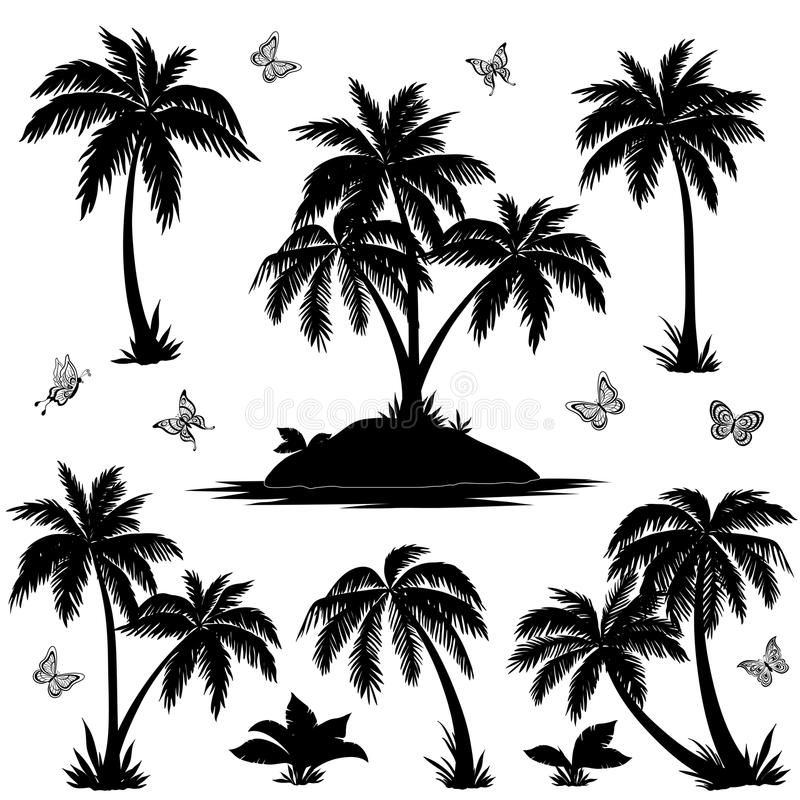 Tropical island, palms and butterflies silhouettes royalty free illustration