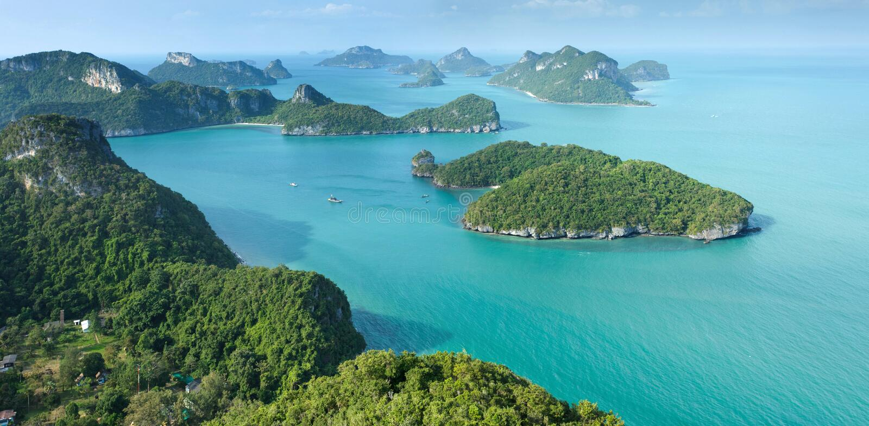 Tropical island panorama stock photo