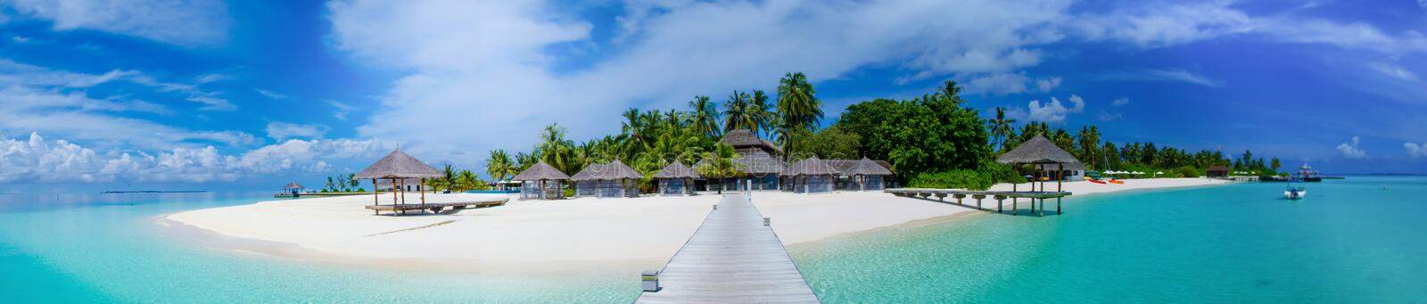 Tropical island panorama view at Maldives royalty free stock photos