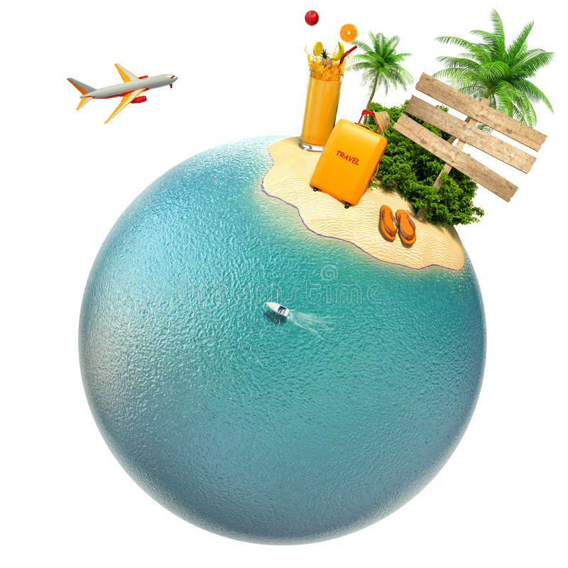 Tropical island, plane and boat on the planet. Travel stock illustration