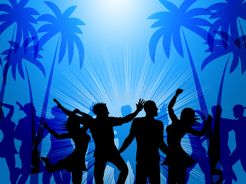 Tropical Island Represents Disco Dancing And Atoll stock illustration