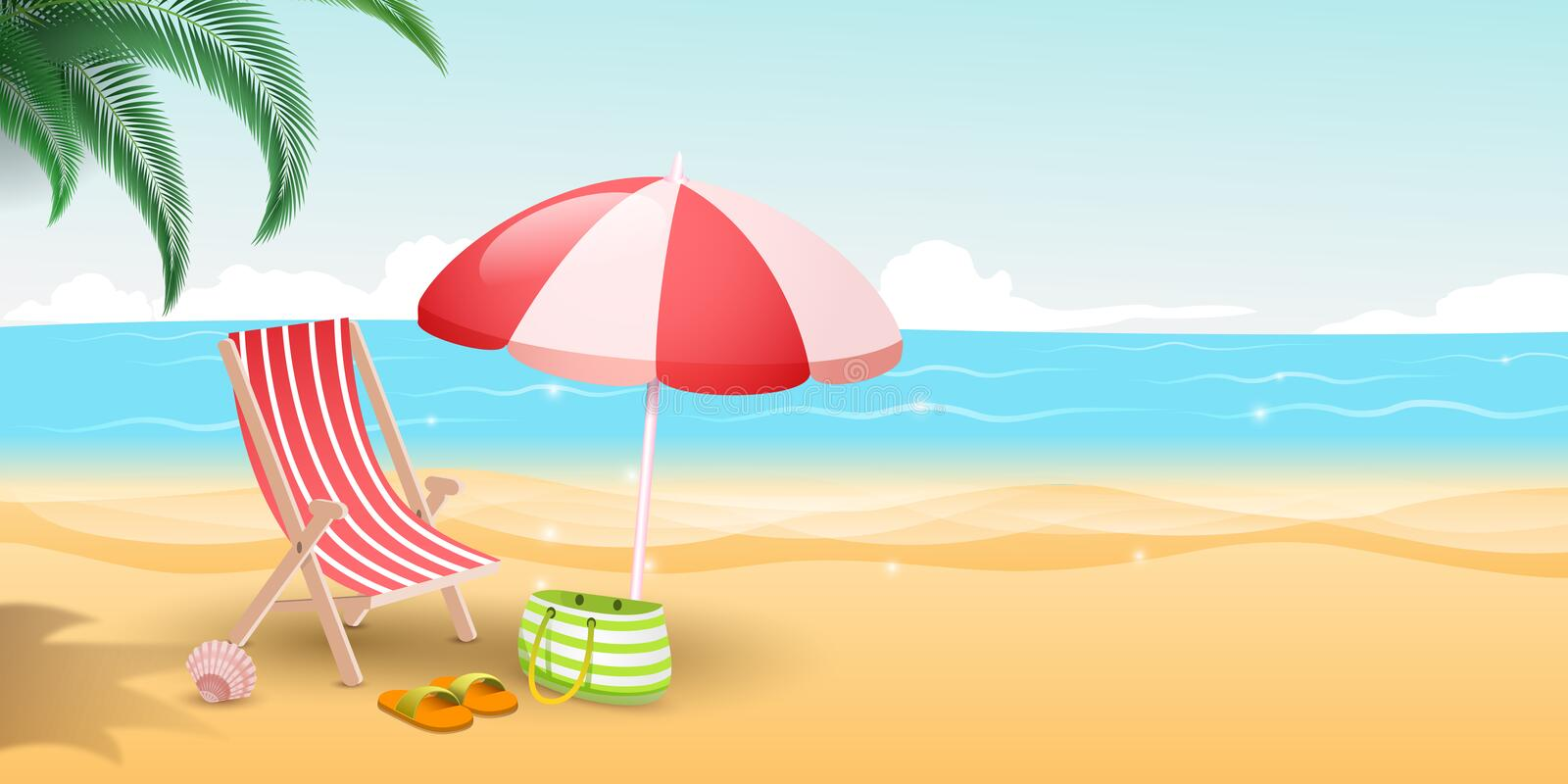 Tropical island resort vector illustration. Travelers paradise with sandy beach, blue sea and palm trees. Striped. Tropical island resort flat vector royalty free illustration