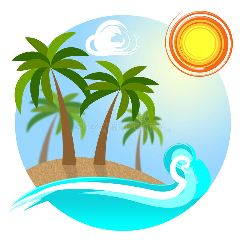 Tropical Island Shows Go On Leave And Destinations vector illustration