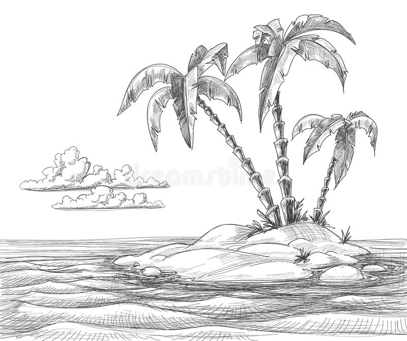 Download Tropical island sketch stock vector. Image of illustration - 22203302