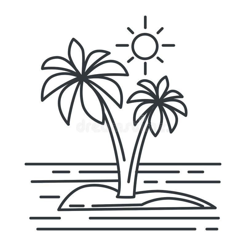 Tropical island, summer landscape, ocean or seascape outline sketch. Summer landscape or seascape, tropical island in ocean outline sketch vector. Palm trees stock illustration