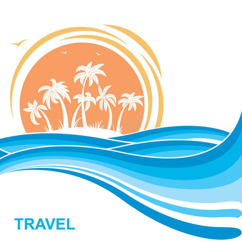 Tropical island and sun. Sea waves background illustration. Tropical island and sun. Sea waves blue background illustration for text vector illustration