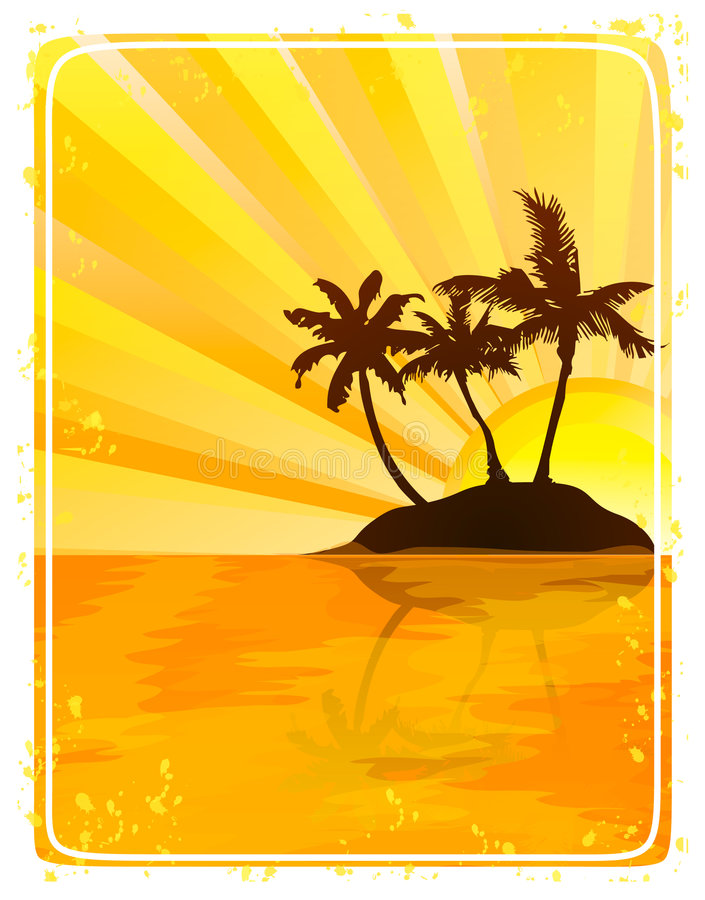 Tropical island at sunset. Silhouette of a tropical island at sunset, with waves and coconut trees royalty free illustration