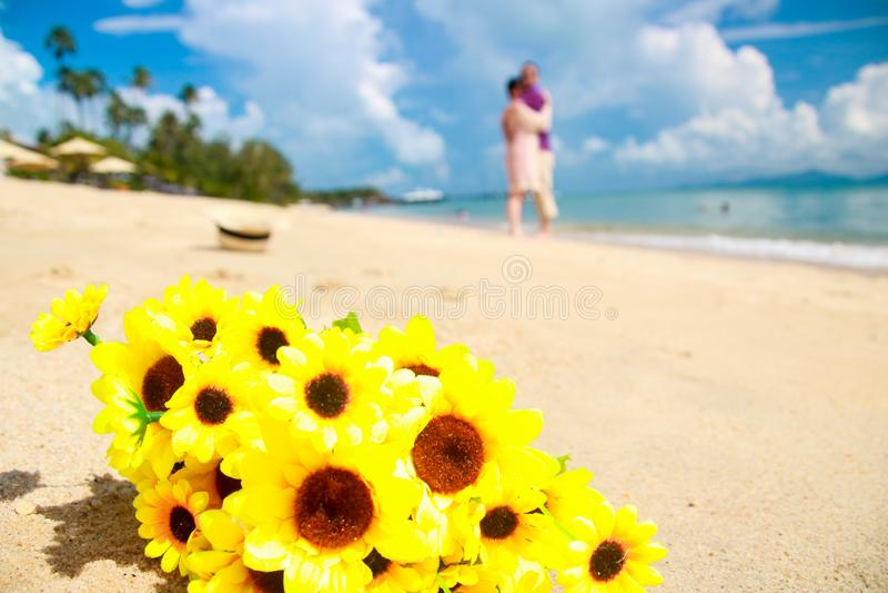 Happy girls on the beach-good friend stock photo