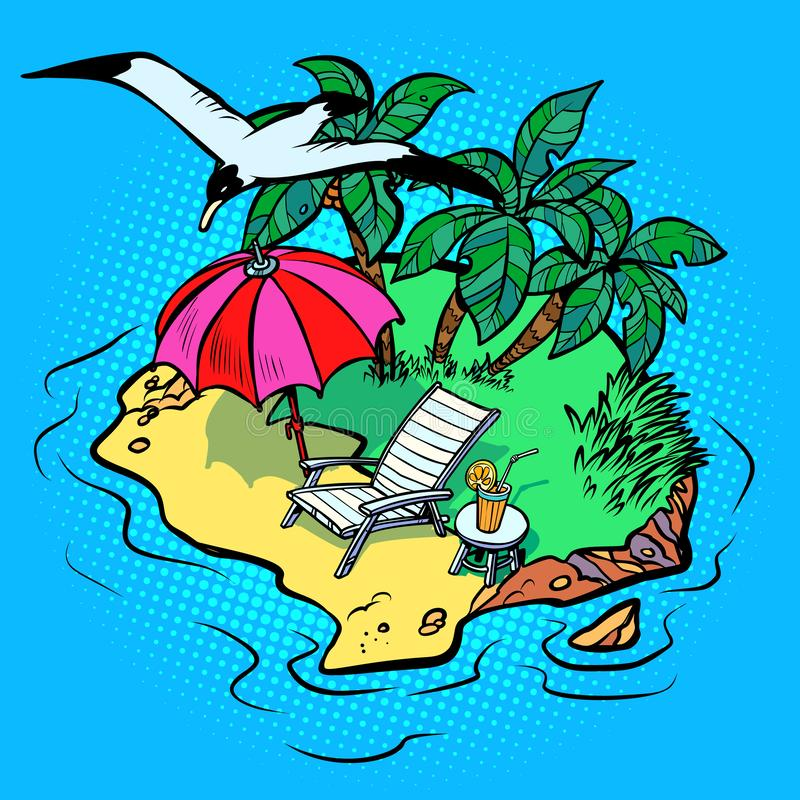 Tropical island tourist resort beach chaise longue, bird Seagull. Comic cartoon pop art vector retro vintage drawing stock illustration