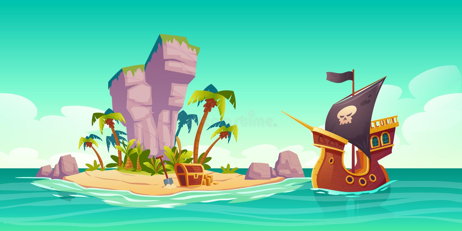Tropical island, treasure chest and pirate ship. Tropical island with treasure chest and pirate ship in ocean. Vector cartoon illustration of sea landscape with vector illustration