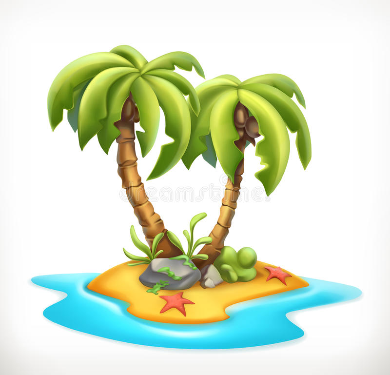 Tropical island, vector icon. Tropical island, 3d vector icon stock illustration