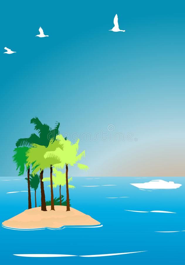 Tropical island vector illustr royalty free stock images
