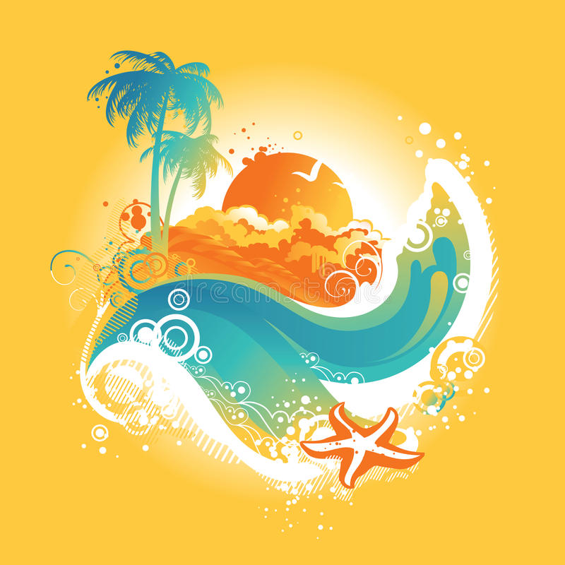 Tropical island, vector illustration. Tropical island in the ocean, vector illustration stock illustration