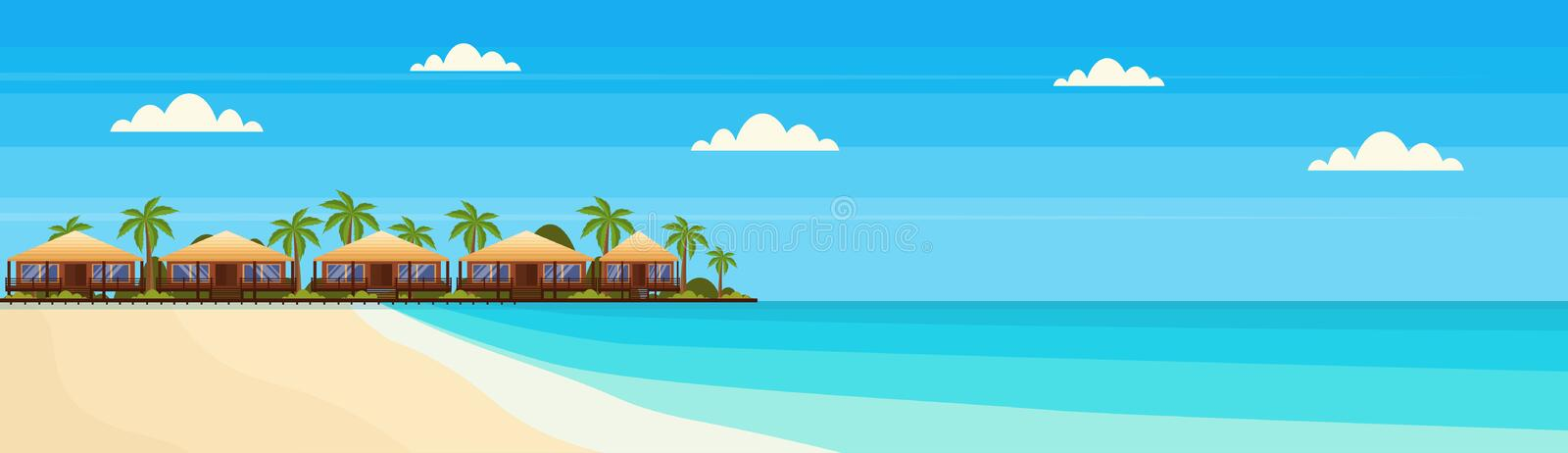 Tropical island with villa bungalow hotel on beach seaside green palms landscape summer vacation concept flat horizontal. Banner vector illustration stock illustration