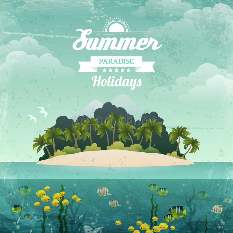 Tropical Island Vintage Poster Stock Vector