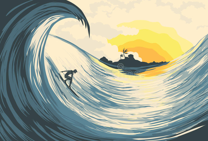 Download Tropical Island Wave And Surfer Stock Vector - Image: 18892502