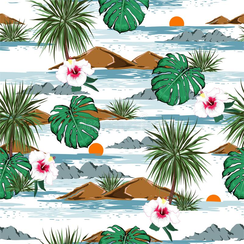 Free Tropical Island With Blooming Hibiscus Flowers And Palm Trees Floral And Monstera Leaves Seamless Pattern Vector EPS10 On Blue Stock Images - 169686154