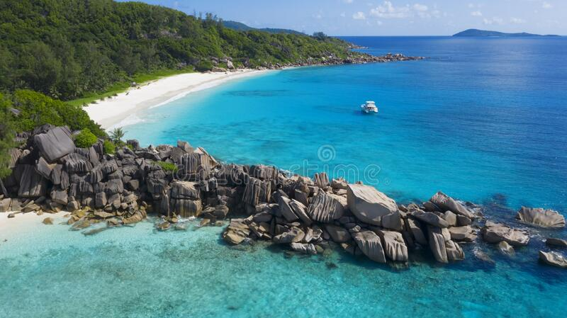 Aerial shooting in tropical regions of the planet. Seyshelles. royalty free stock photo