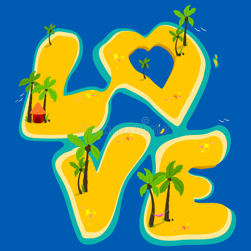Tropical islands forming the word love vector illustration