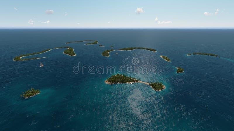 Tropical islands in ocean royalty free illustration