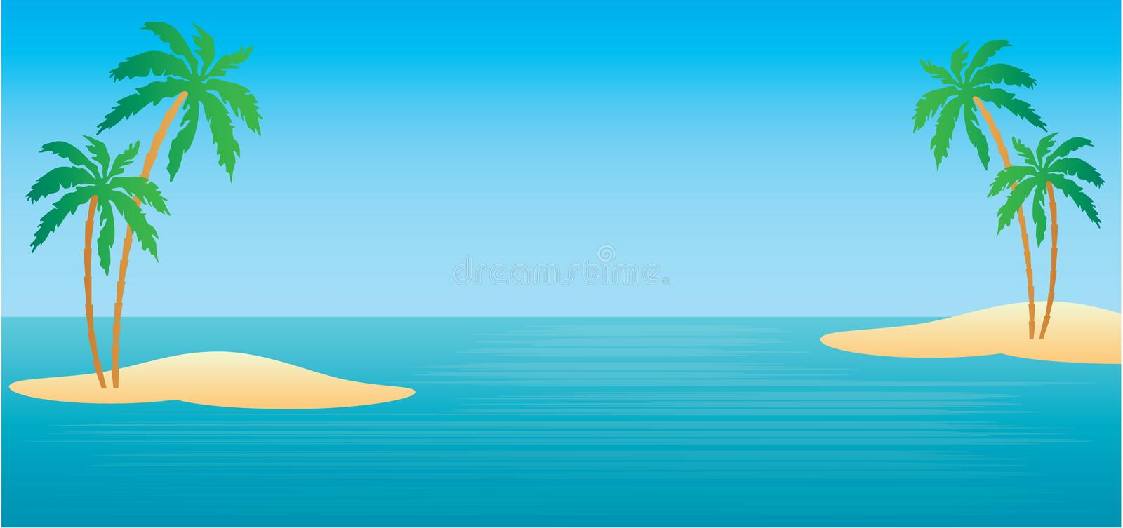 Tropical islands with palm trees stock illustration