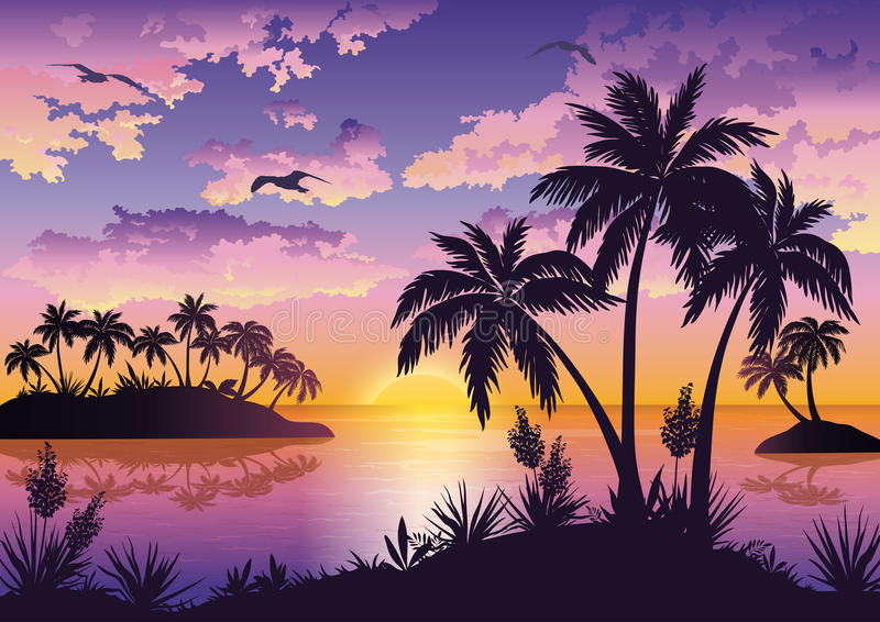 Tropical islands, palms, sky and birds. Tropical sea landscape, black silhouettes islands with palm trees and flowers, clouds, sky with clouds, sun and birds