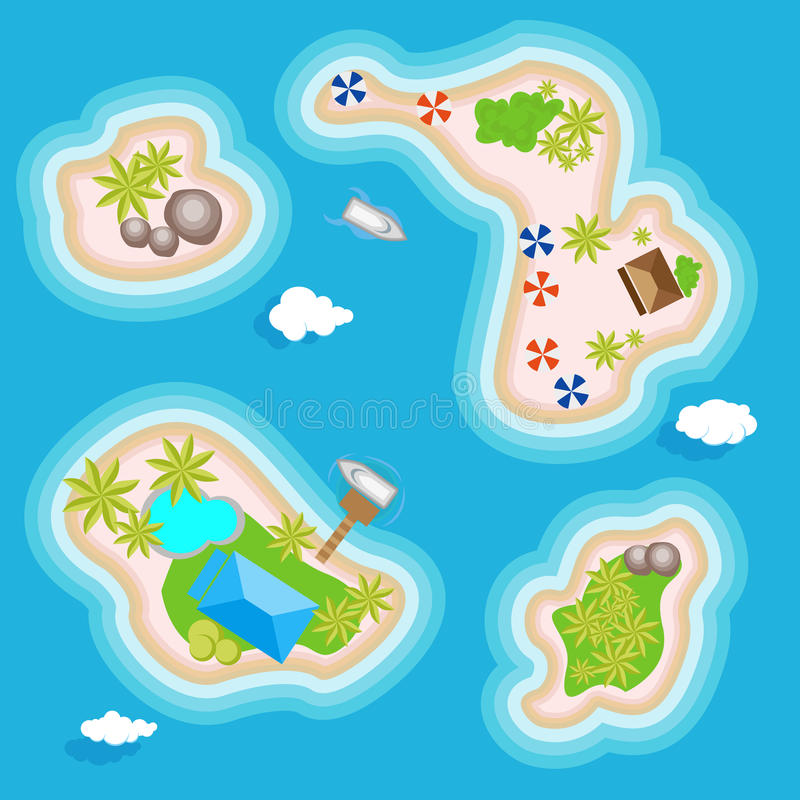 Tropical islands set top view above in the ocean or the sea. Vacation islands for holidays or weekends. Illustration in vector illustration