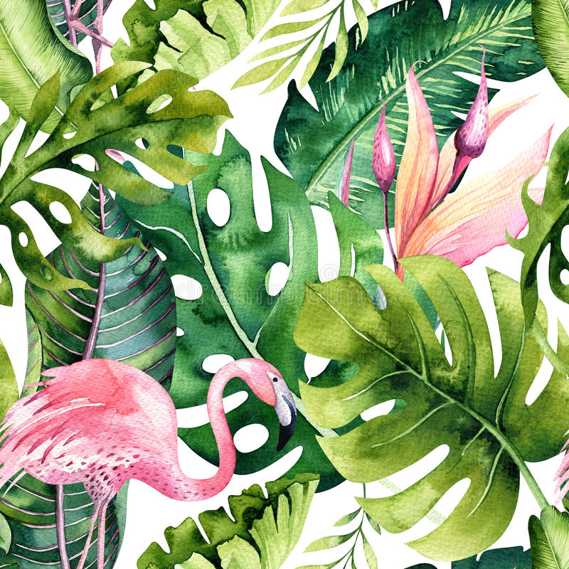 Tropical isolated seamless pattern with flamingo. Watercolor tropic drawing, rose bird and greenery palm tree, tropic. Green texture, exotic flower. Aloha