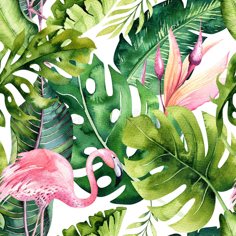 Tropical isolated seamless pattern with flamingo. Watercolor tropic drawing, rose bird and greenery palm tree, tropic royalty free illustration